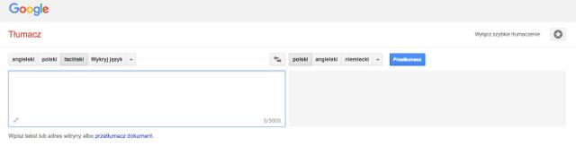 Tłumacz łacińsko-polski Google