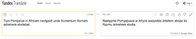 Tłumacz łacińsko-polski Yandex